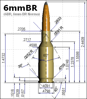 6BR 6mmBR 6mm BR Norma 6BR Remington blueprint diagram