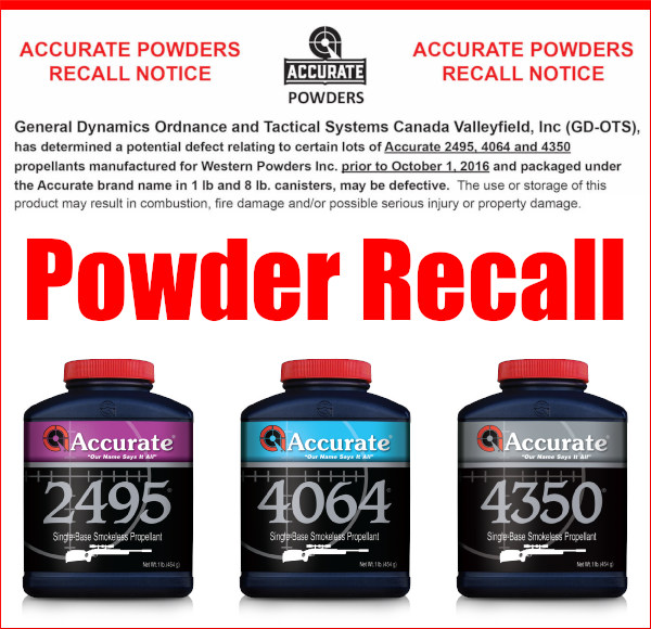 Accurate Powder Western 2495 4065 4350 propellant powders recall safety fire hazard