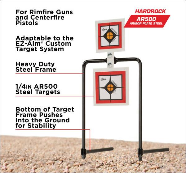 Allen AR500 Hard rock steel Targets gong squares rack rimfire pistol