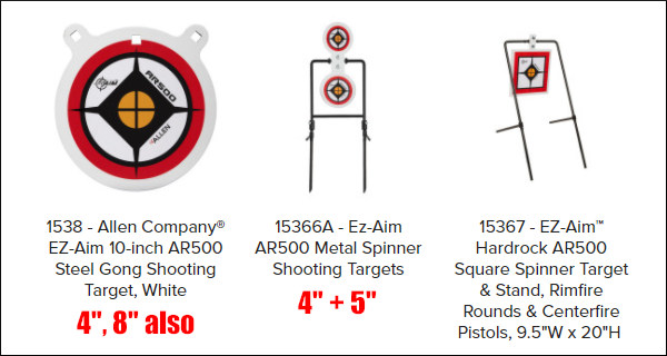 Allen AR500 Hard rock steel Targets gong squares rack frame silhouette