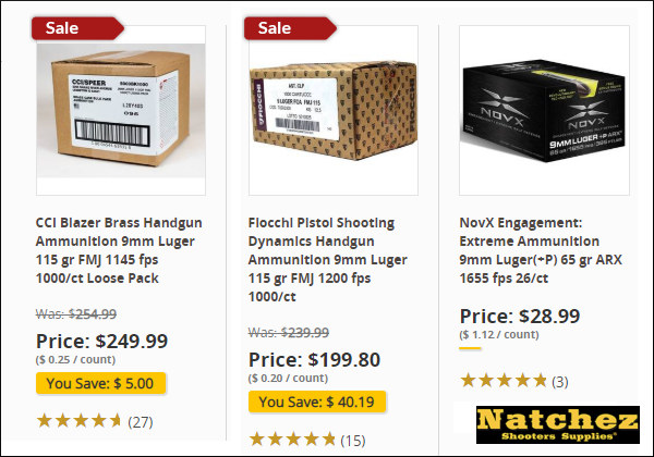 Natchez CCI Fiocchi 9mm defense 9x19mm luger ammunition ammo in stock
