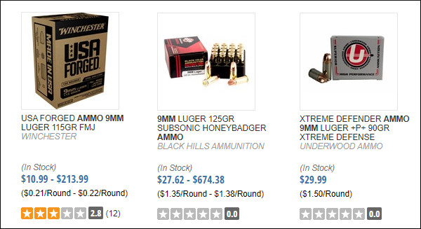 Brownells 9mm defense 9x19mm luger ammunition ammo in stock