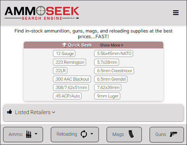 Ammoseek search engine ammuntion reloading supplies