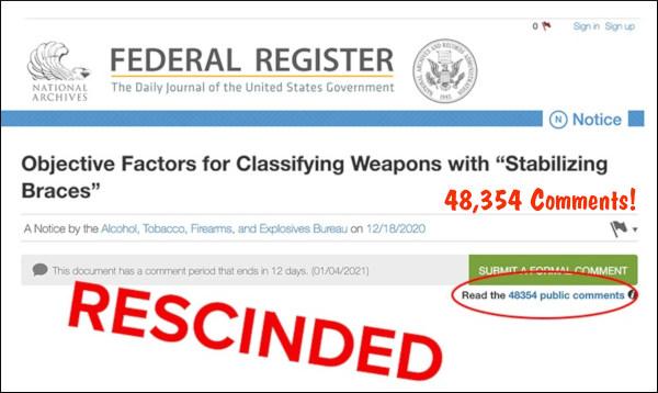 AR16 AR pistol arm brace BATFE ATF guidance ruling retraction