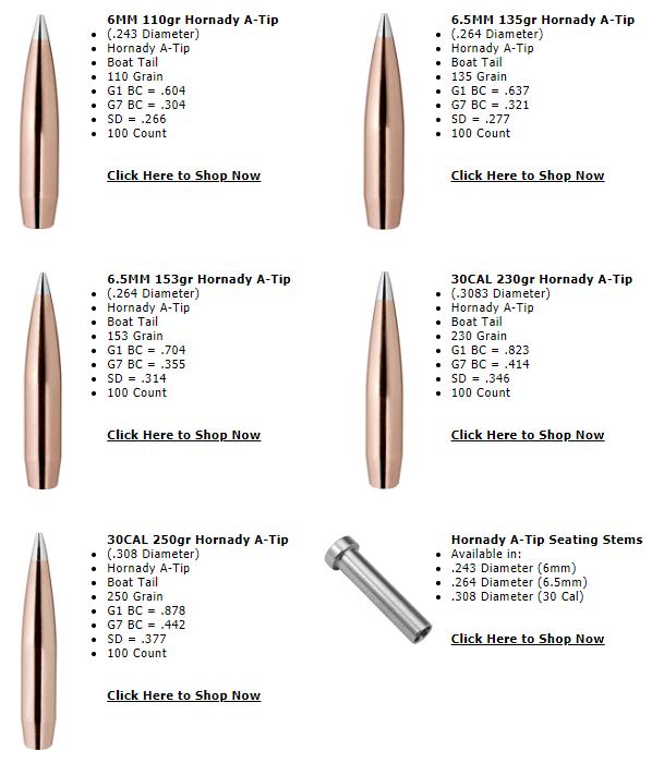 hornady aluminum atip a-tip bullet doppler radar match high-bc