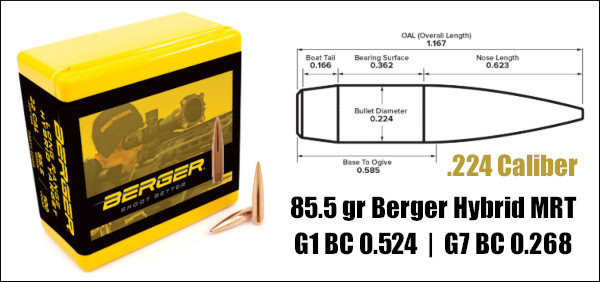 Berger hybrid target MRT Meplat reduction technology 85.5 grain .224 22 caliber bullet
