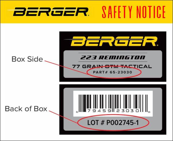 Berger .223 Rem ammunition recall safety notice