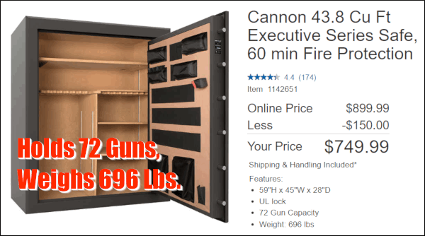 Cannon CS72 Executive 72-gun safe vault delivered sale $749.99
