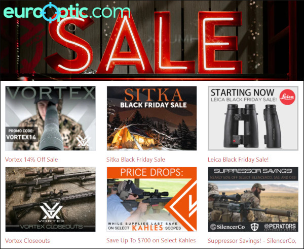 Leica Leupold vortex eurooptic scopes black friday sale