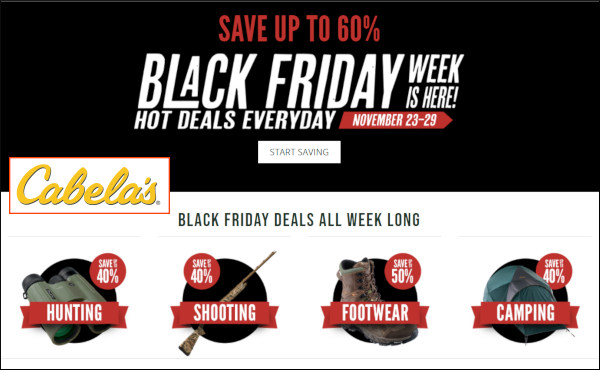 Cabela's black friday sale hunting shooting