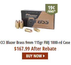 CCI Blazer brass 9mm 9x19 ammo ammunition