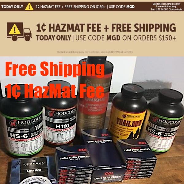 Brownells promo free shipping penny hazmat fee