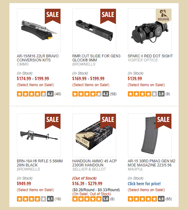 Brownells Sale codes discount July 2019