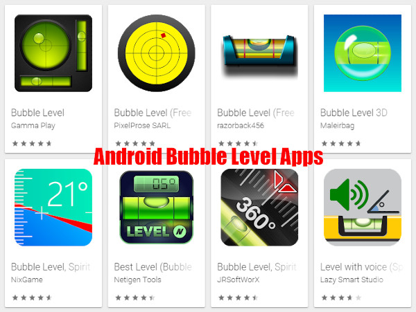 Android OS Google bubble level apps