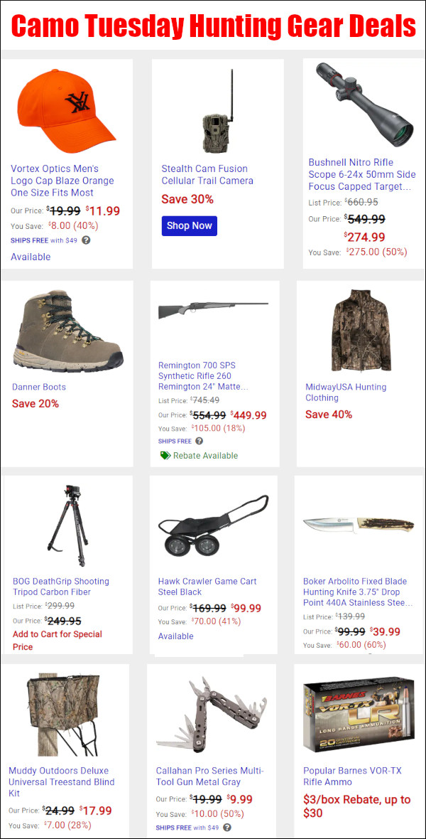 MidwayUSA camo tuesday contest discount sale bargain