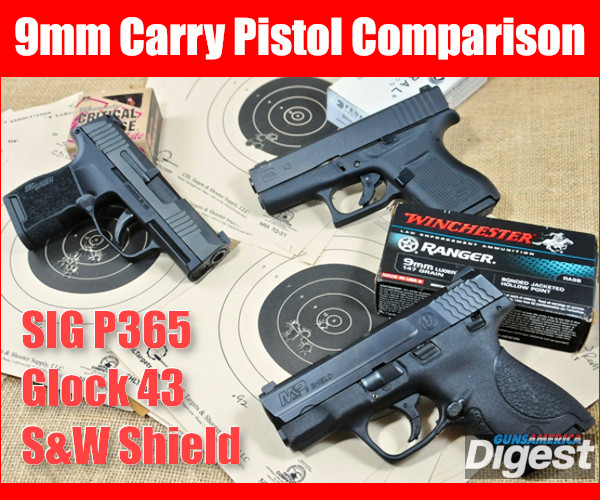 Sig P365 Glock 43 Smith Wesson Shield 9mm 9x19mm luger pistol