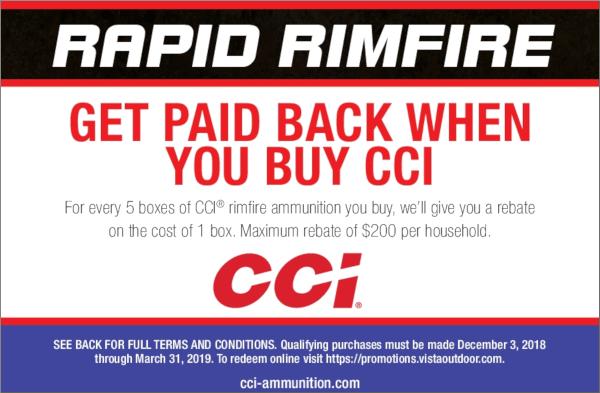 CCI ammo .22 LR ammunition deal rebate rimfire promo code brownells