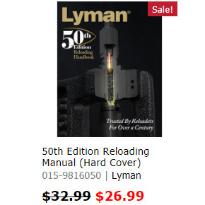 Lyman 50th Reloading Load Manual