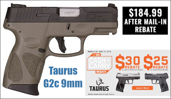 Carry pistol $185 bargain Taurus G2C ccw handgun review discount sales