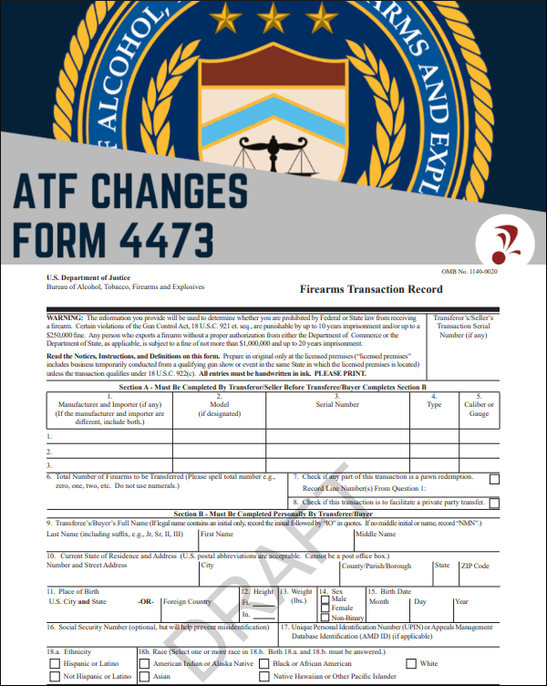 FBI NICS Forum 4473 firearms background check form new