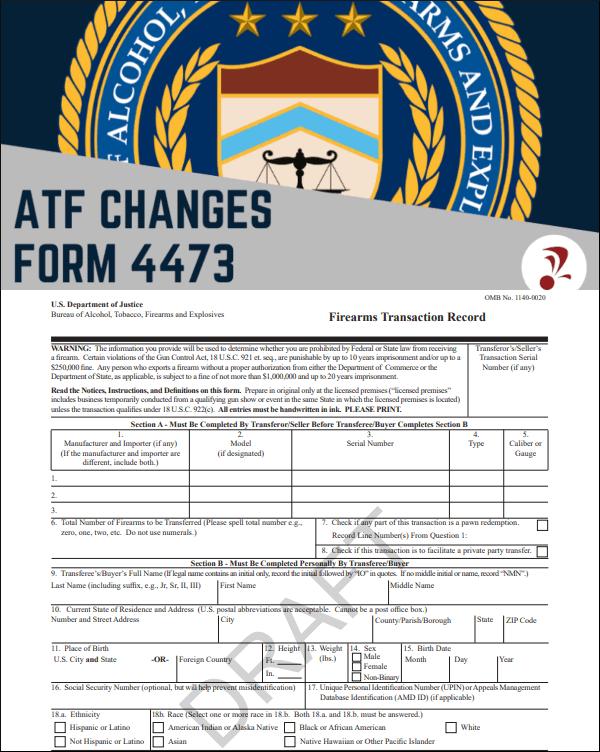 FBI NICS Forum 4473 firearms background check form new