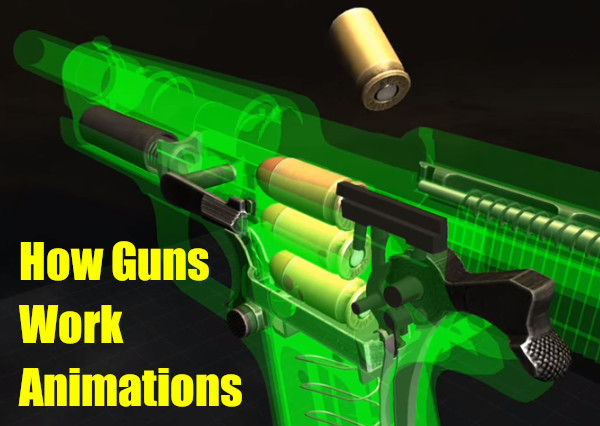 3D animation cad computer how guns work video 1911 glock handgun pistol