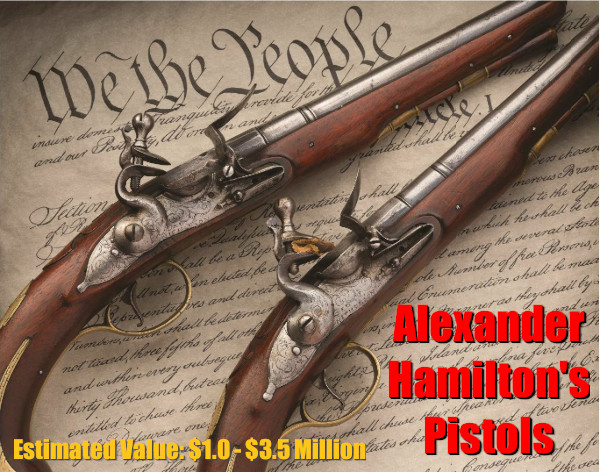 Alexander Hamilton flintlock pistol epaulettes auction rock island company RIA