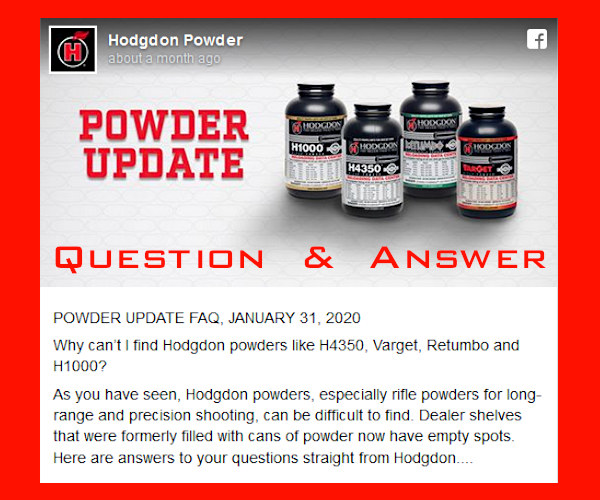 hodgdon powder extreme Varget H4360 shortage supply Q&A