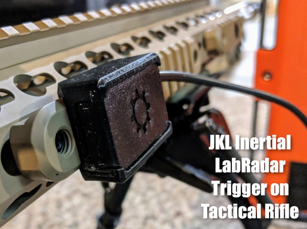 LabRadar chronograph to register bullet speed JKL inertial trigger recoil activated