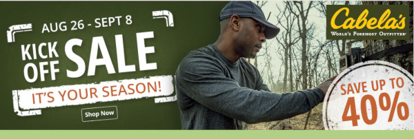 Labor day hunting kickoff sale Cabela's discount