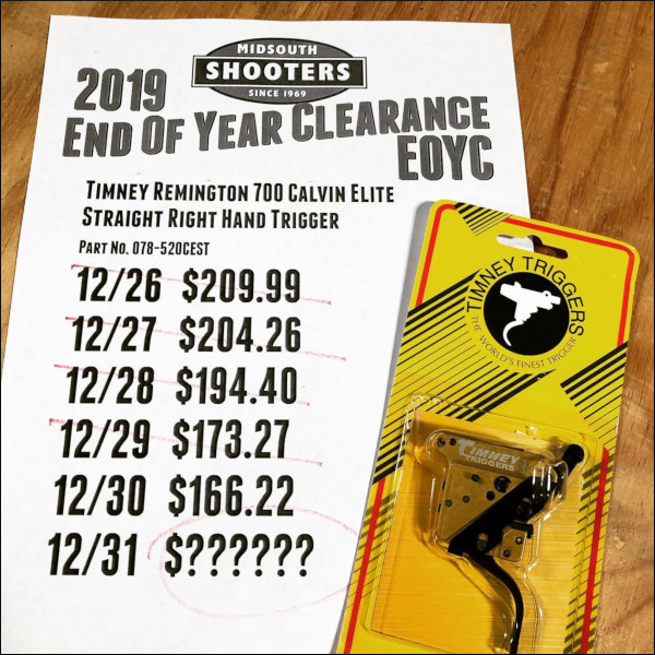 Midsouth Shooters Supply Timney Trigger End of Year Clearance Sale EOYC discount prices New Year 2020