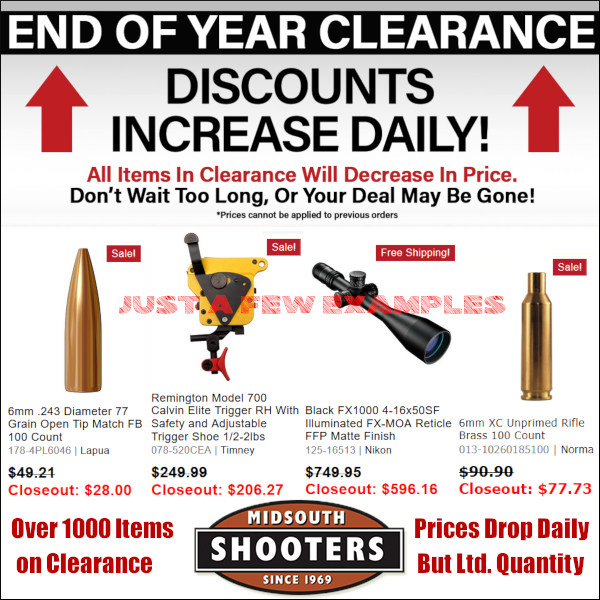 Midsouth Shooters supply sale discount end of year clearance code