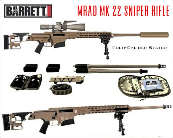 Barrett Firearms MRAD MK22 multi caliber sniper rifles .308 win .300 Norma magnum .338 Lapua Magnum