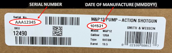 smith wesson M&P 12 shotgun barrel crack cracking recall notice 2021