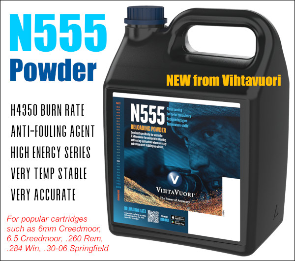 Capstone vihtavuori N 555 N555 energy H4350 powder new propellant High Energy 6.5 Creedmoor 6mm .284 win