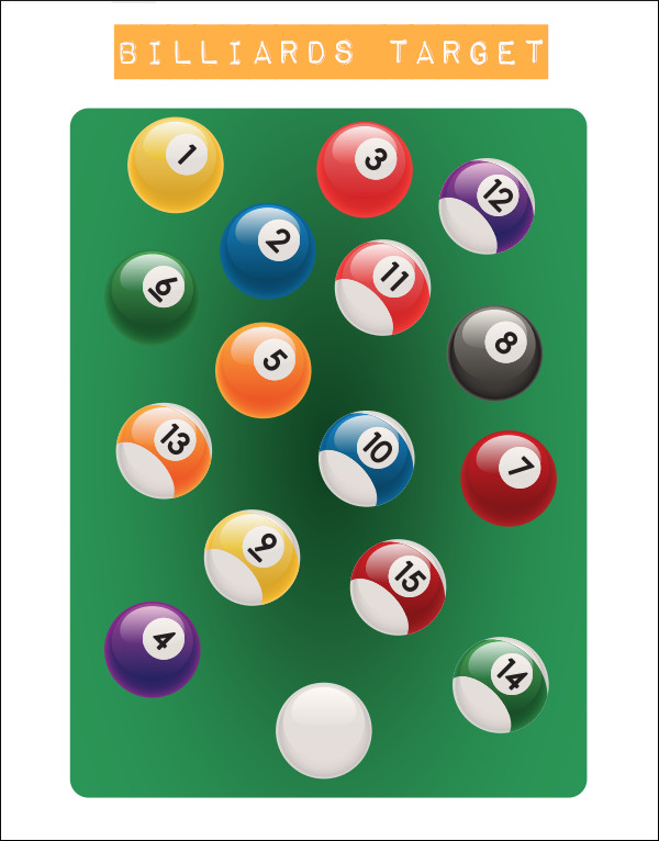 shooting paper printable billiard cue ball stripes solids target