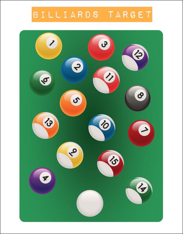 shooting paper printable billiard cue ball stripes solids target