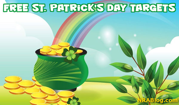 Free downloadable pot of gold Ireland St Patricks day shamrock target NRA