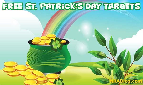 Free downloadable pot of gold Ireland St Patricks day shamrock target NRA