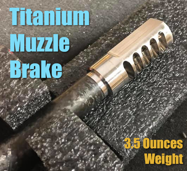 Self-timing muzzle muscle brake titanium Ti 5-port hunting rifle