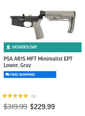 PSA Complete Lower AR15 Fathers Day sale 2021