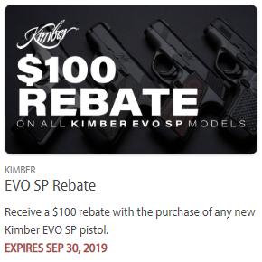 Kimber pistol handgun rebate