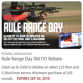 Federal range day ammo .223 Rem rebate