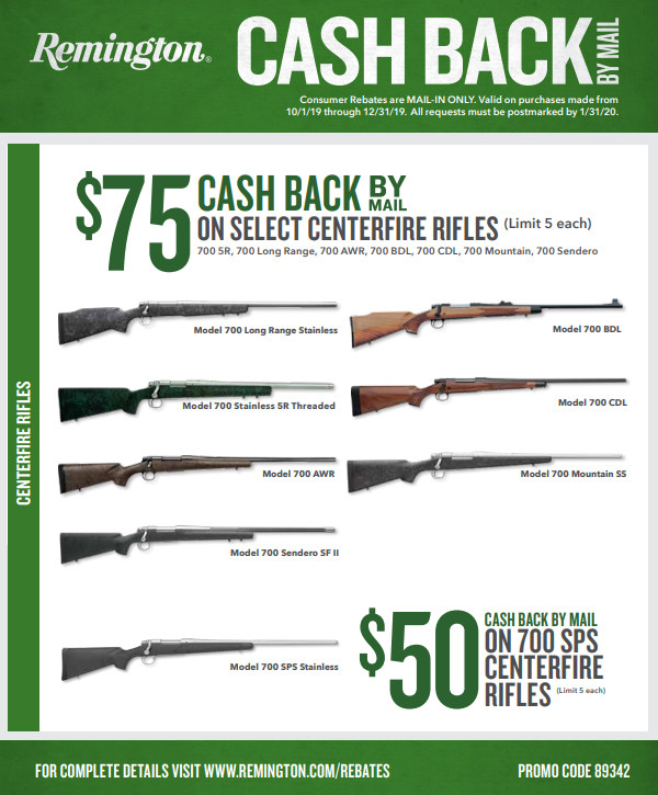 Remington Rem 700 Big Game Promotion Rebate Mail-in 2019