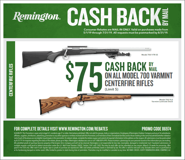 Remington Rifle Rebate 2017 summer Rem 700 varmint rifle