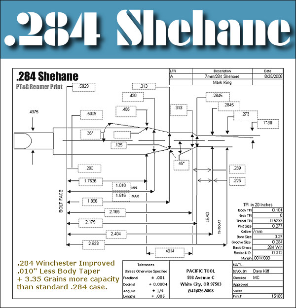 7mm .285 shehane improved f-class f-open caliber cartridge chambering