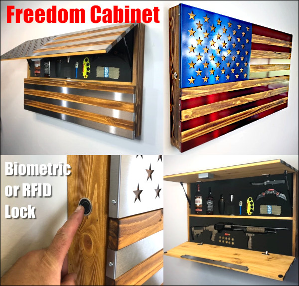 Freedom Cabinet Wall Safe concealment System RFID Biometric