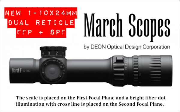 March 1-10x24mm dual reticle scope optic