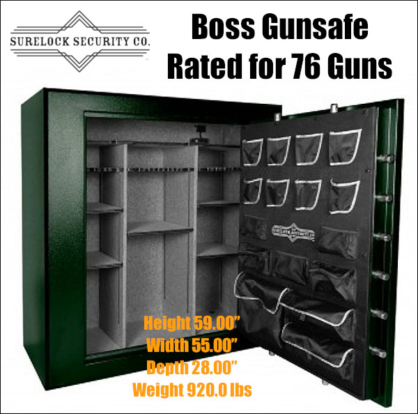 Surelock boss giant gunsafe safe vault 76 guns firearms