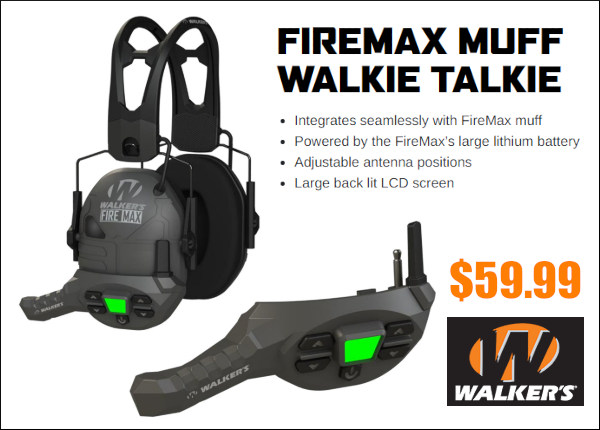 Walker's firemax walkie talkie radio headset earmuffs hearing protection